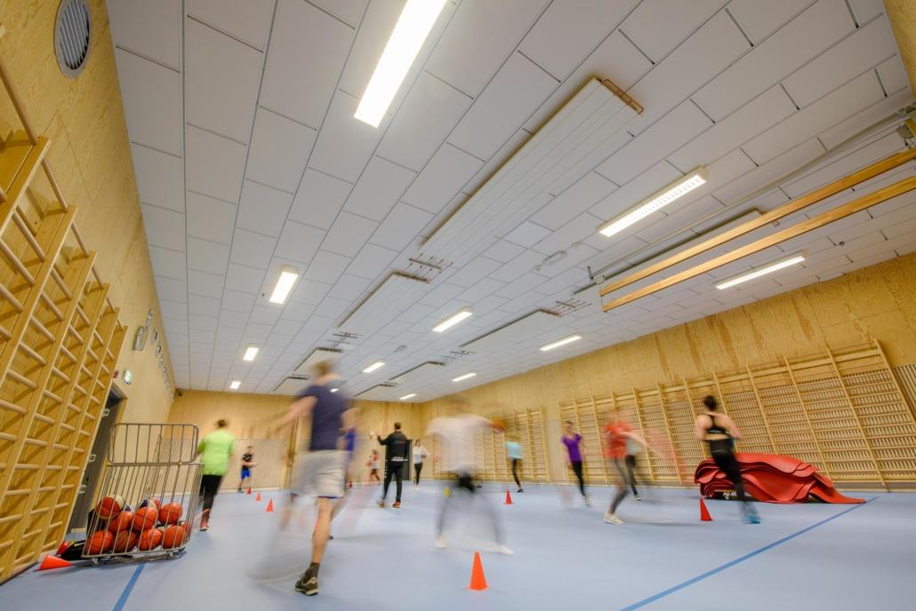 Lyddempende plater, gymsal skole Lillehammer